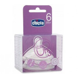 Tetina Step Up Silicona Flujo Papilla 6M+ Chicco 2 Ud